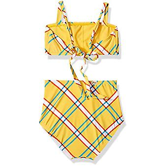Hobie Girls' Big Bandeau Bikini Swimsuit Top and Hi Waist Hipster Bottom Set,...