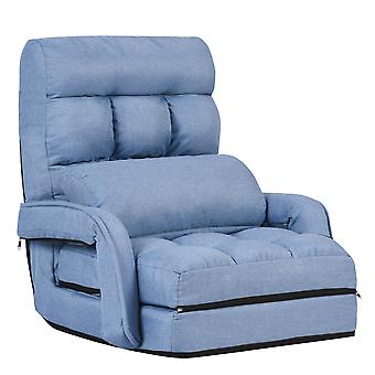 2 IN 1 Folding Lazy Sofa Lounger Adjustable Floor Gaming Chair W/ Armrests Pillow