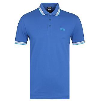 Boss Paddy getipt turquoise blauwe polo shirt