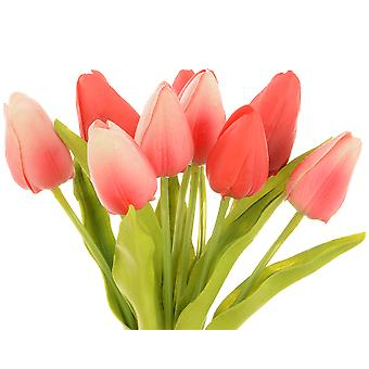 Red 11 Head Small Artificial Tulip Bunch for Floristry Crafts