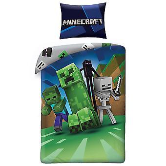 Minecraft Creeps Dynetrekk Seng Sett Sengetøy 140x200 +70x90cm