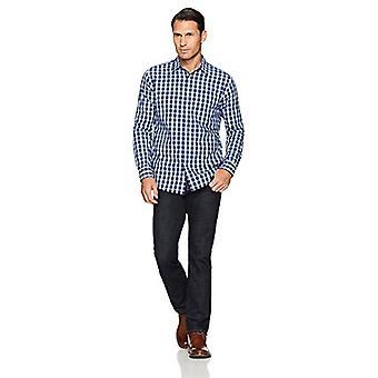 أساسيات الرجال & apos;ق العادية تناسب طويلة الأكمام عارضة قميص بوبلين, الأزرق بلا ...