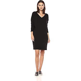 العلامة التجارية - الطقوس اليومية المرأة تيري القطن و مشروط الخامس الرقبة قطرة الكتف قميص اللباس، أسود، صغير