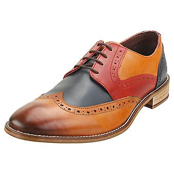 London Brogues Tommy Four Eyelet Mens Brogue Shoes in Tan Navy Red