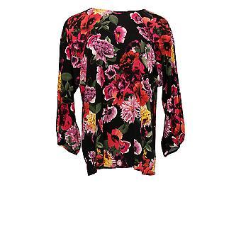 Martha Stewart Femmes'top floral Poppy Print Crêpe Top Noir A342439
