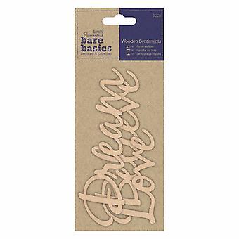 Papermania Bare Basics Wooden Sentiments Dream, Believe, Love (3pcs) (PMA 174688)