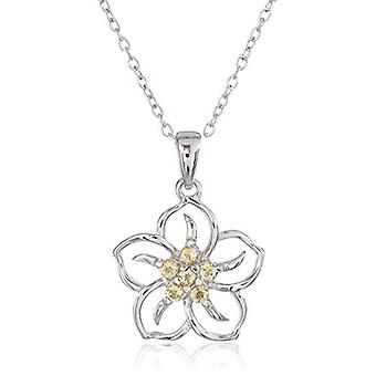 Sterling Silver Genuine Citrine Flower Pendant Necklace,, Yellow, Size No Size