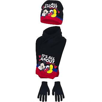 Disney mickey boys set hat scarf and gloves winter