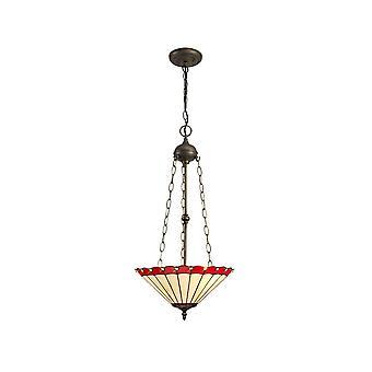 Iluminación luminosa - 3 Light Uplighter colgante de techo E27 con 40cm Tiffany Shade, rojo, cristal, envejecido latón antiguo