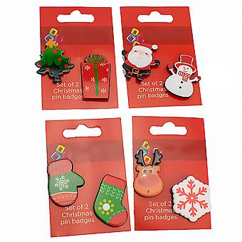 Set of 2 Christmas Theme Pin Badges - Cracker Filler Gift