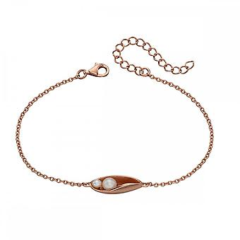 Elements Silver Rose Gold Plate & Pearl Drop Bracelet B5022P