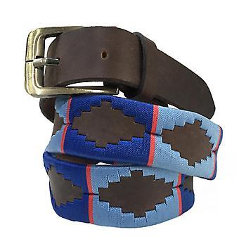 Carlos diaz herre kvinder unisex argentinske brun læder broderet polo bælte cdupb67
