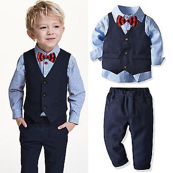 4kpl Puvut - Vauvan raidallinen paita / Liivi / Housut Muodollinen Bleiseri, Herrasmies