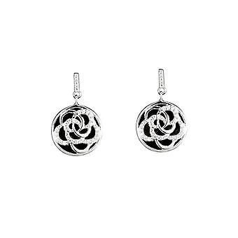Boucles d'oreilles en céramique noire, argent et oxyde de zirconium 'ROSA '