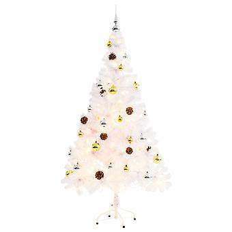 Konstgjord julgran dekorerade bollar lysdioder 150 cm Vit