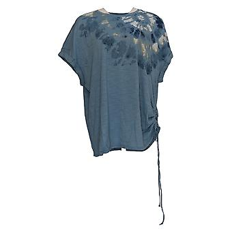 DG2 by Diane Gilman Women's Top Blue Tunic Cotton Short Sleeve 724-848