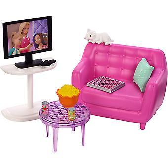 باربي fxg36 مجموعة الأثاث الداخلي، غرفة المعيشة مع هريرة، متعددة الألوان
