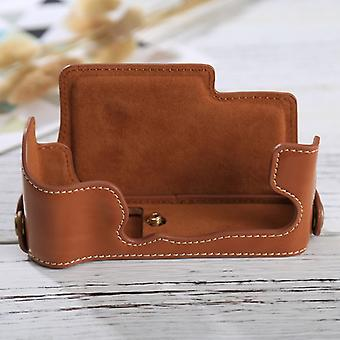 1/4 inch Thread PU Leather Camera Half Case Base for FUJIFILM X-E3(Brown)