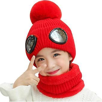 Short Plush Inlayer Knit Hat Scarf Set Child Winter Warm Cap Scarves Kids Pilot