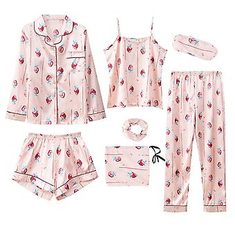 7 Pieces Women's Silk Satin Pyjamas Sets Pyjamas Set Sleepwear