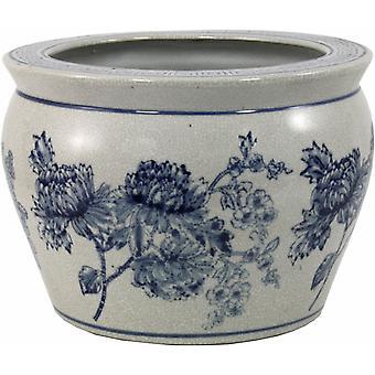 Ceramic Planter, Vintage Blue & White Magnolia Design