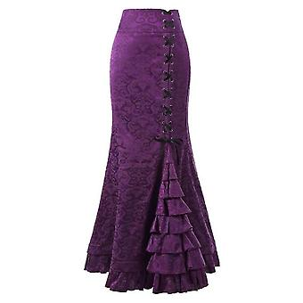 Φούστες γυναικών, τρομπέτα γοργόνα γοτθική μακριά Steampunk, φούστα Maxi Fishtail