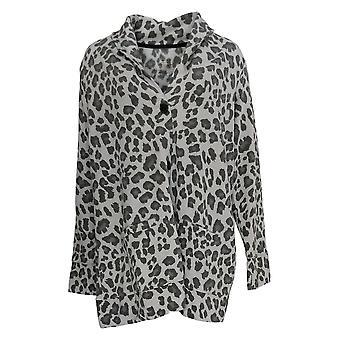 Cuddl Duds Women's Sweater Comfortwear Shawl Collar Cardi Gray A368207