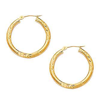 10k Yellow Gold Diamond Cut Design Round Shape Hoop Earrings, Diameter 20mm
