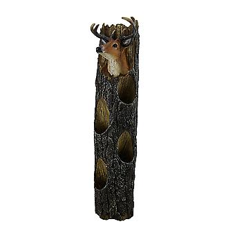 Deer Head On Weathered Log Rustic Wall Mounted 4 Bottle Wine Holder 19 Inch