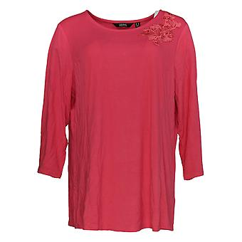 Dennis Basso Mujeres's Top Soft Touch Knit Tunic With Applique Pink A349306