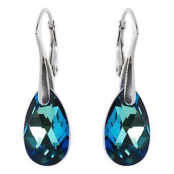 Zilveren Oorbellen conoció a Swarovski Elements Bermuda Blue - 16MM