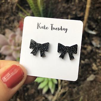 Boucles d'oreilles acryliques Black Sparkly Bow