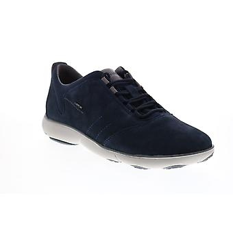 Geox U Nebel Herren Blau Nubuk Lace Up Euro Sneakers Schuhe