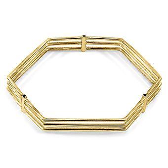 ANCHOR & CREW Walton Tri-Rail Maxi Geometric 9ct Yellow Gold Bangle