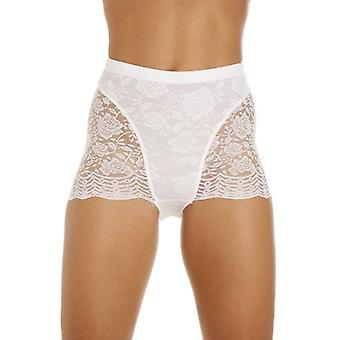 Camille Womens Two Pack White Floral Lace Control Boxer Shorts