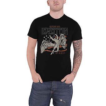 Led Zeppelin T Shirt US 1975 Tour Flag Band Logo new Official Mens Black