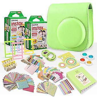 Fujifilm instax mini película instantánea + fujifilm instax lime green paquete accesorio de 168 piezas con caja de cámara, lente selfie, álbum de fotos, ps01127