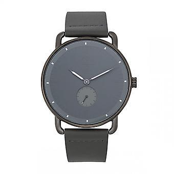 Trendy Classic horloge CC1044-03-Dash Bo tier staal grijs lederen armband grijs grijs Cadran grijs