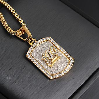 Hip hop ketting militaire badge 100 in goud en diamanten