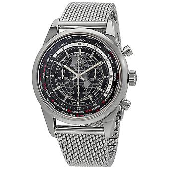 Breitling Transocean Chronograph Unitime World Time Automatic Chronometer Black Dial Men's Watch AB0510U4/BE84-152A