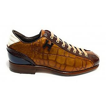 Herrskor Harris Laced Leather Print Coconut Moro Vit Blå U17ha142