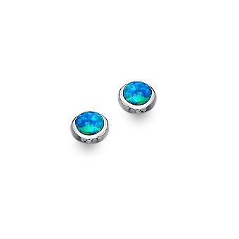 Boucles d'oreilles Sterling Silver Stud - Origins Blue Synthetic Opal Round