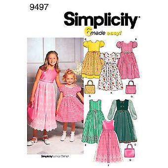 Yksinkertaisuus ompelu kuvio 9497 Tytöt Lapset Mekko Laukku Koko 7-14 K5