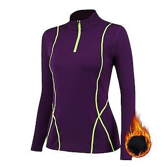 Winter Fleece Running T Shirt, Compression Tights, Women Sport Clothing, Zipper