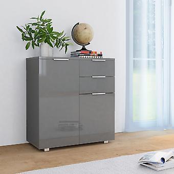 vidaXL Sideboard high gloss grey 71×35×76 cm chipboard