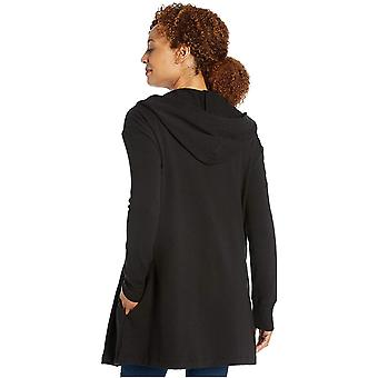 Daily Ritual Women's Terry Cotton and Modal Hooded Open Sweatshirt, Navy, XX-Large
