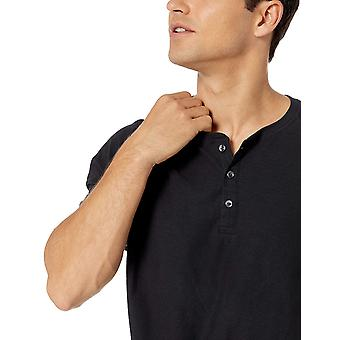 Essentials Men's Regular-Fit Kurzarm Slub Henley T-Shirt, schwarz, X-Large