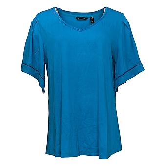 H par Halston Women's Top Knit Crepe V-Neck w/ Flutter Sleeves Blue A311460