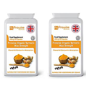 Pack of 2 - Organic Turmeric with Black Pepper 600mg | Suitable For Vegetarians & Vegans by Prowise
