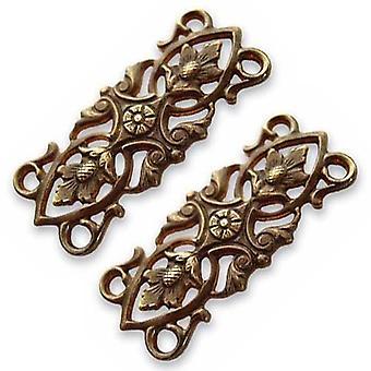 Vintaj Natural Brass Filigree Acorn Leaves Connector Beads 12 x 30mm (2)